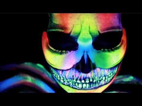 Rave UV Blacklight Skull Face Paint Halloween Makeup Tutorial