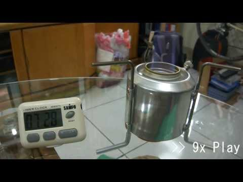 DIY - Chimney-Jet Alcohol Stove, boiling water - with pot lid