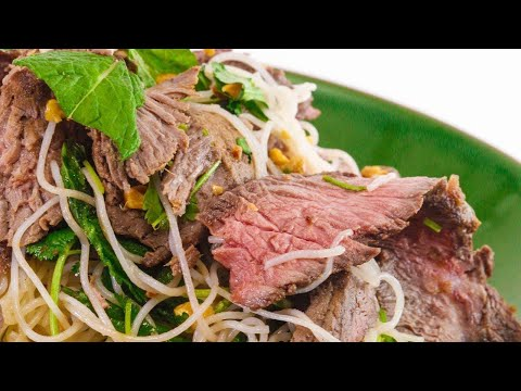 Ginger Beef with Rice Noodles and Herbs Salad