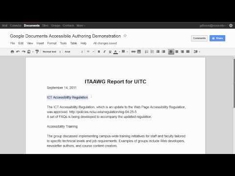 Using Google Document Headings
