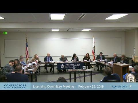 CSLB Licensing Committee Meeting 02.23.18
