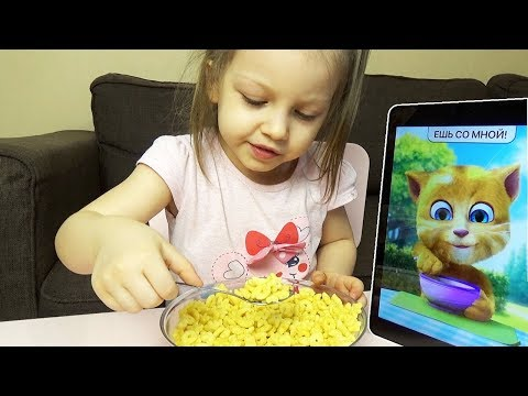 Funny Cat eats Breakfast and Plays with Lera for Kids Talking Cat Tom