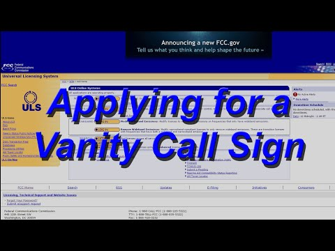 Amateur Radio-Applying for a Vanity Call Sign