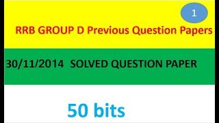 RRB Group D Model Paper in English Held on 30/11/2014
