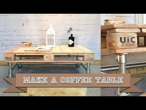 Easy to Build Coffee Table made with Kee Klamp Scaffold Tube and Wooden Pallet with Simple DIY Tools