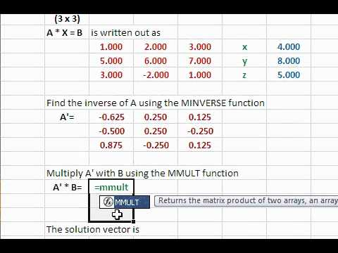 Solve system of linear equations using Excel matrix functions