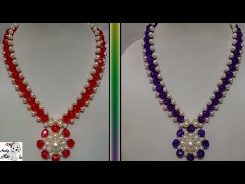 #80 How to Make Pearl Beaded Necklace || Diy || Jewellery Making