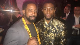 BLACK PANTHER exclusive interview w/ Chadwick Boseman about how it felt to bring his mom along