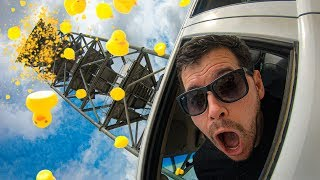 1000 RUBBER DUCKS Vs. CAR from 45m Tower! (Driver Is Inside!!)