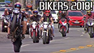 BIKERS 2018! Superbikes Wheelies, Burnouts, Stoppies and Loud Exhaust Sounds!