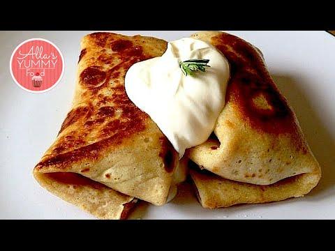 Russian Pancakes Recipe, Meat Filled Pancakes - Блинчики с Mясом Pецепт