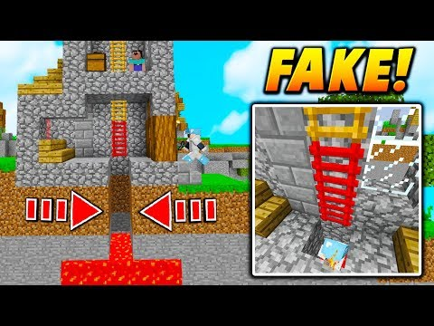 FAKE LADDER LAVA TRAP! - Minecraft SKYWARS TROLLING (NO WAY!)