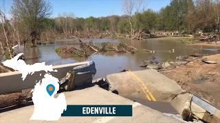 Bridge destroyed as flood waters rage in mid-Michigan