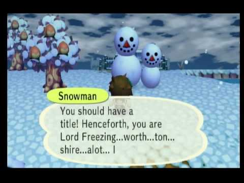 Animal Crossing City Folk- Talking With A Perfect Snowman