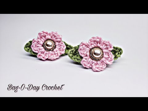 How To Crochet A Pair Of Flower Barrettes Girls Quick Easy Crochet Tutorial #480