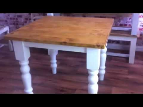 Square Rustic Farmhouse Reclaimed Pine Kitchen Dining Table