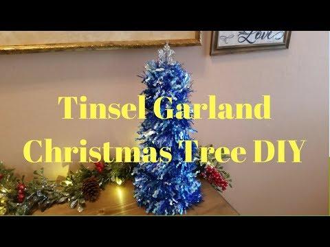 Tinsel Garland Christmas Tree DIY