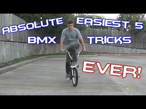 ABSOLUTE EASIEST 5 BEGINNER BMX TRICKS! EVER!
