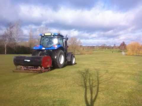 Golf Course maintenance - Vertidraining a Golf Fairway with a Charterhouse Vertidrain