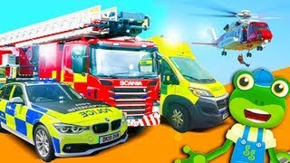 Emergency Vehicles! Gecko's Real Vehicles | Fire Truck Police Car and More | Learning For Kids