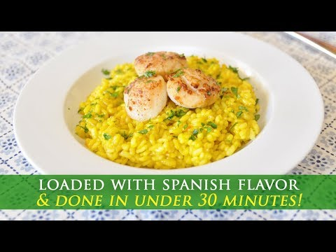 Easy to Make Saffron Infused Rice with Seared Scallops