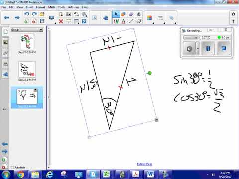 Calculate trig values algebraically for 30 60 90 and 45 45 90 right triangles