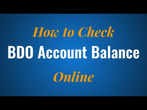 How to Check your BDO Account Balance Online
