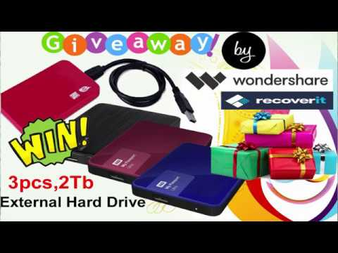 Giveaway by Wondershare Recoverit ! Chance to Win 2 Tb External Hard drive  ! Hurry up