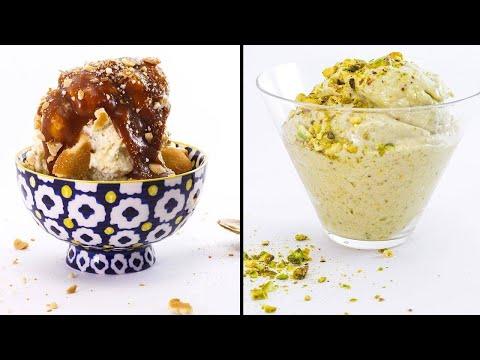 Pistachio Nice Cream  + No-Churn Banana Pudding Ice Cream