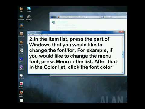 how to change the text  and background color on windows 7