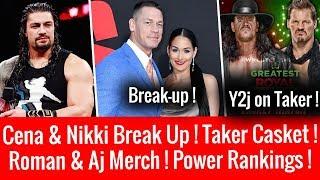 John Cena & Nikki Bella Break Up ! Roman Reigns & Aj Styles Merch Sale ! Undertaker ! Rusev Leave ?