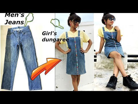 DIY: Convert/Reuse old Men's Jeans into girls DUNGAREE DRESS/ DUNGAREE SKIRT