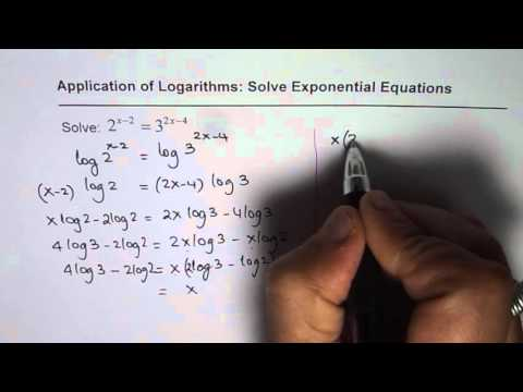 How to Solve 2^(x - 2) = 3^(2x - 4) Exponential Equation with Different Base with Logarithms