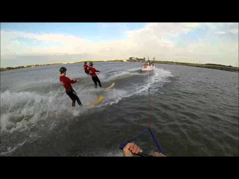 GoPro 4 water skiers around the boat