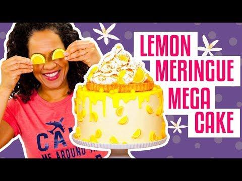 How To Make A Sweet & Tangy LEMON MERINGUE PIE MEGA CAKE | Yolanda Gampp | How To Cake It