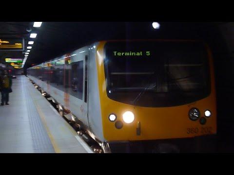 Trains at Heathrow Station London England 2015