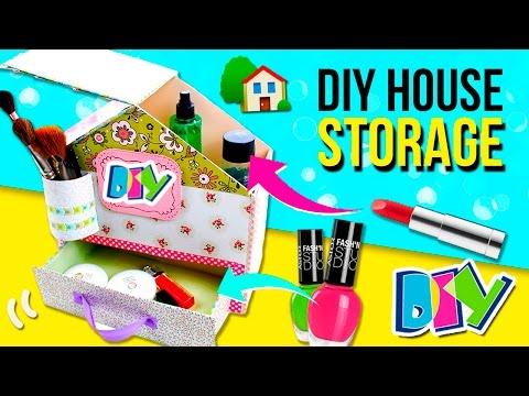 DIY House MAKEUP storage 🏠 How to make House MAKEUP STORAGE 💞