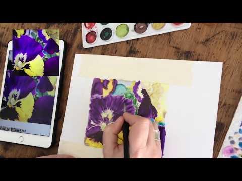 Alcohol Ink Art Pansy Flower Painting - Translucent Yupo