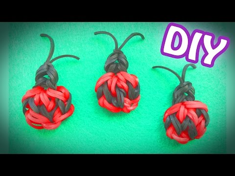 LOOMLESS Rainbow Loom Band Charm | Quick and Easy Lady Bug
