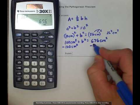 ALEKS: Finding the area of a right triangle using the Pythagorean Theorem (MC)