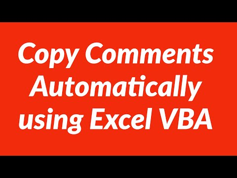 Copy Comments Automatically using Excel VBA