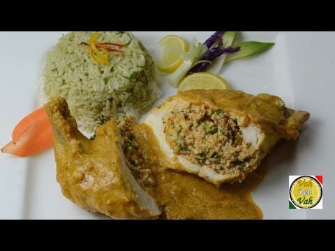 Cream Cheese Stuffed Chicken Breast  with Yellow Gravy Curry - By VahChef @ VahRehVah.com
