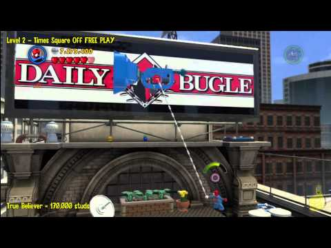 Lego Marvel Super Heroes: Level 2 Times Square Off - FREE PLAY (All Minikits & Stan In Peril) - HTG