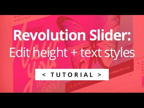 Revolution Slider - How to change slider height + text styles