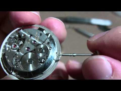 How I remove a wrist watch stem and crown, screw type.  Wittnauer watch 11BG3.