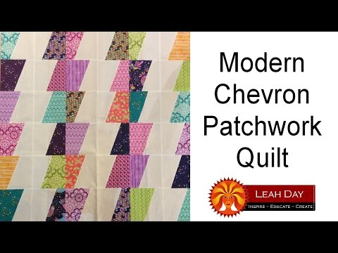 How to make a Modern Chevron Patchwork Quilt - Easy Quilting Tutorial with Leah Day