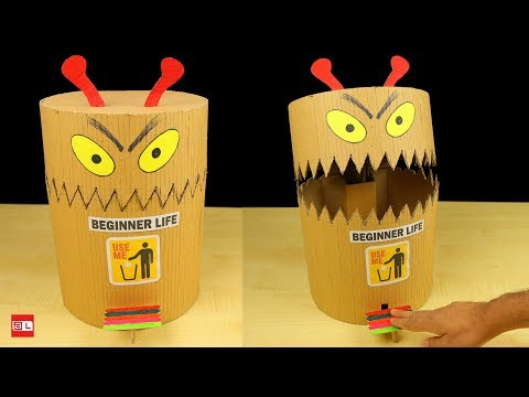 How to Make DIY funny toy Trash Can from cardboard - DIY Dustbin at Home