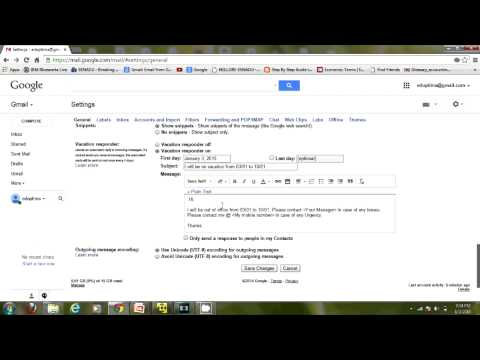 How to Set up Out of office vacation Auto Reply in GMAIL
