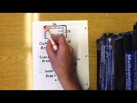 Quadratic word problem: frame around inside of rectangle