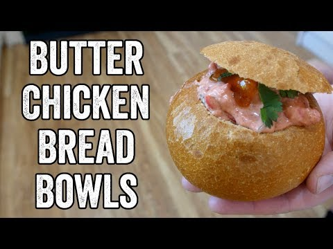 Butter chicken bread bowl